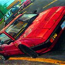 An oil pastel drawing of a 1982 Ferrari Mondial Quattrovalvole. by SteveBrandon