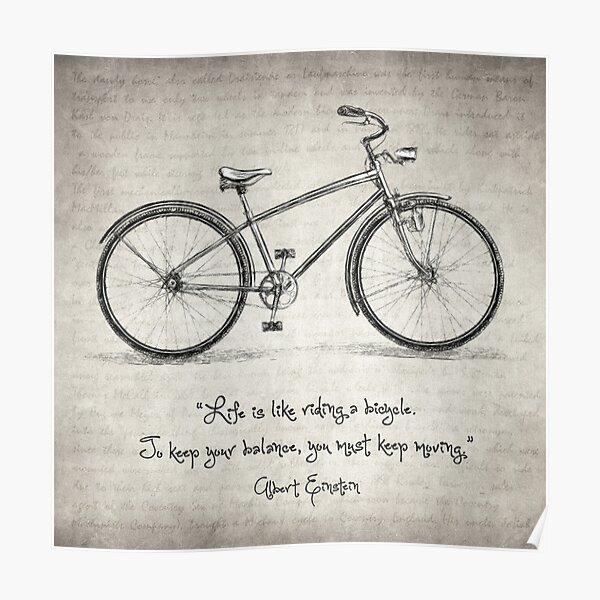 Albert Einstein Bicycle Quote Poster