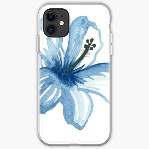 Watercolor blue hibiscus iPhone Soft Case