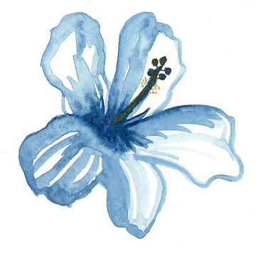 Watercolor blue hibiscus by thealohastudios