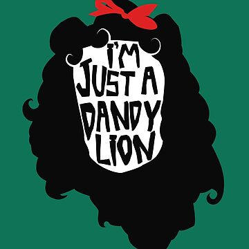 Just a Dandy Lion Red Bow Artwork by TotalTeeGeek