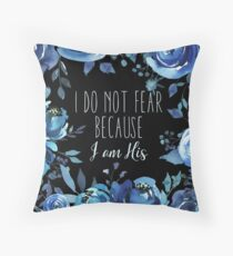 Christian Quote Indigo Floral Throw Pillow