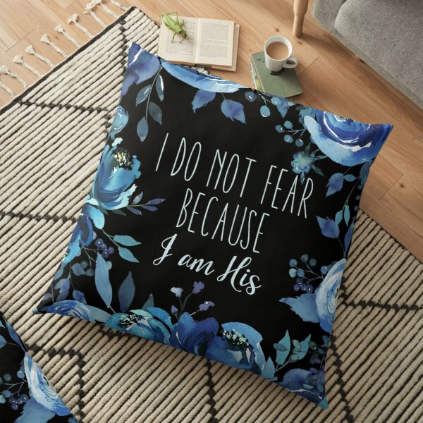 Christian Quote Indigo Floral Floor Pillow