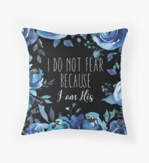Christian Quote Indigo Floral Floor Pillow