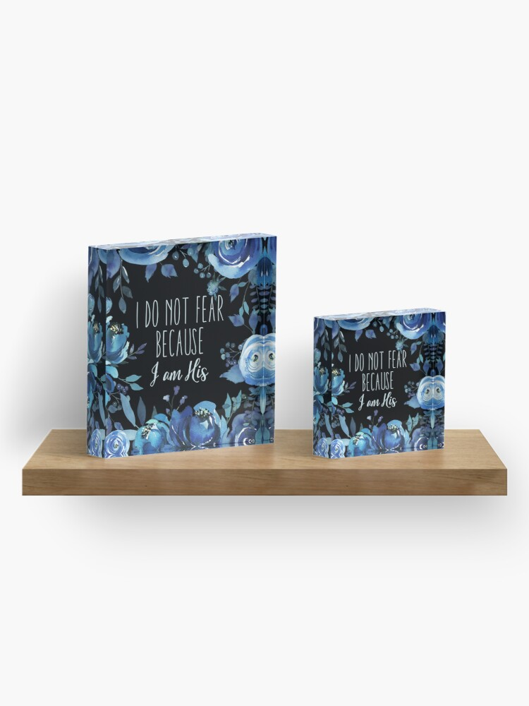 Alternate view of Christian Quote Indigo Floral Acrylic Block