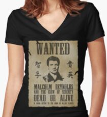 Wanted Captain  Women's Fitted V-Neck T-Shirt