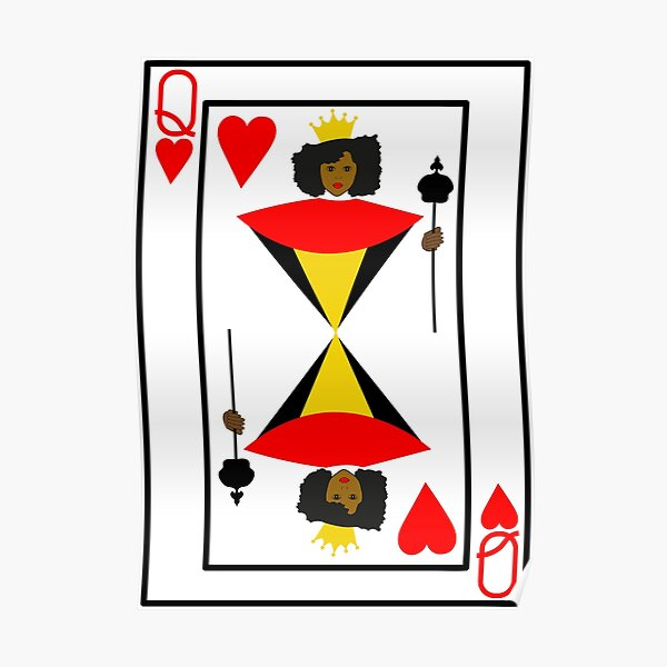 Black Queen of Hearts Playing Card Poster
