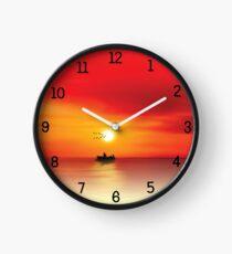 Numbered Wall Clock Ocean Sunset  Clock