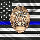 San Diego Police Department - SDPD Officer Badge over The Thin Blue Line Flag by Serge Averbukh