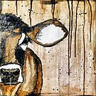Mixed media cow by Bluewoodsdesign
