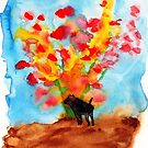 Black dog with Blooming Spring Tree by danvera