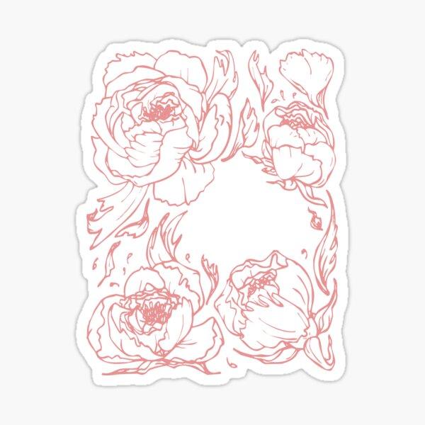 Peony botanical illustration Sticker