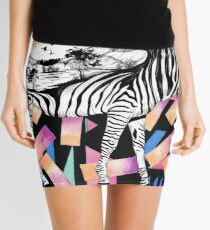 Watercolor Wanderlust African Savanna Zebra in Black and White Mini Skirt