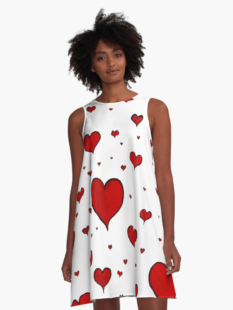 Valentine Heart Pattern A-Line Dress Front