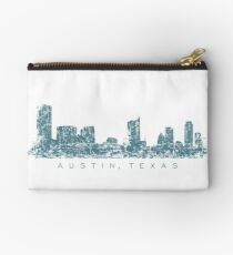 Austin, Texas Skyline Vintage Blue Zipper Pouch