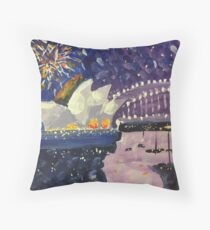 Sydney Harbour New Year Eve Fireworks 2, a painting by Geoff Hargraves Throw Pillow