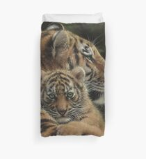 "Tiger Mother and Cub ""Cherished"" Duvet Cover"