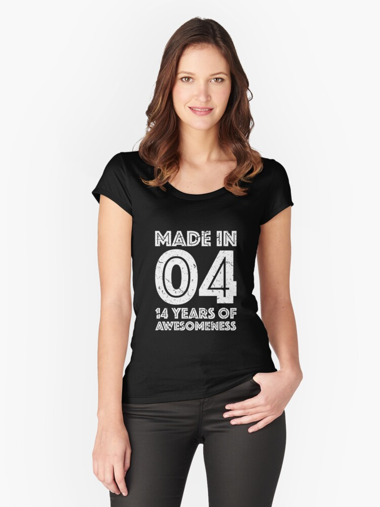14th Birthday Gift Teens Age 14 Year Old Boy Girl Womens Fitted Scoop T Shirt By Mattlok
