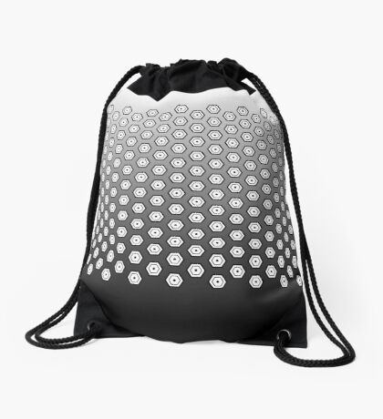 Hexagonal Turtle Pattern Black & White 002 Drawstring Bag