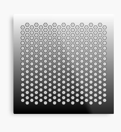 Hexagonal Turtle Pattern Black & White 002 Metal Print