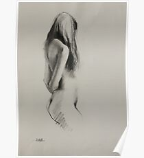 Life Drawing - Charcoal Figure Poster