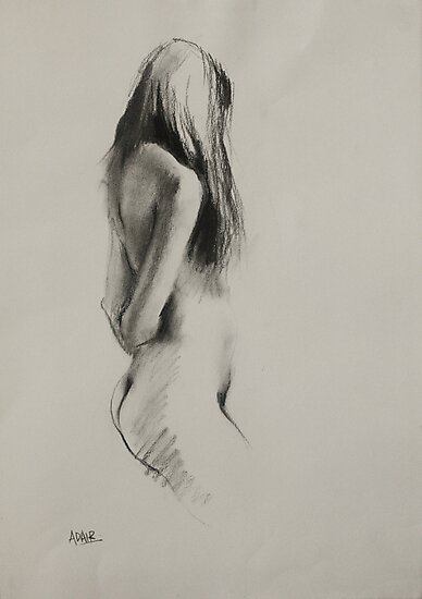 Life Drawing - Charcoal Figure by Pauline Adair