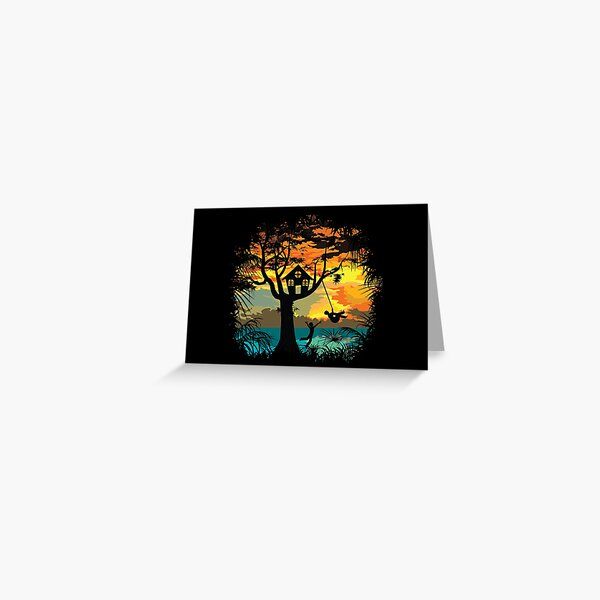 Sunset Silhouette Swing Greeting Card