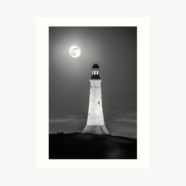 Hoad Monument Full Moon black and white Art Print