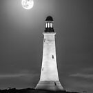 Hoad Monument Full Moon black and white by Stephen Miller