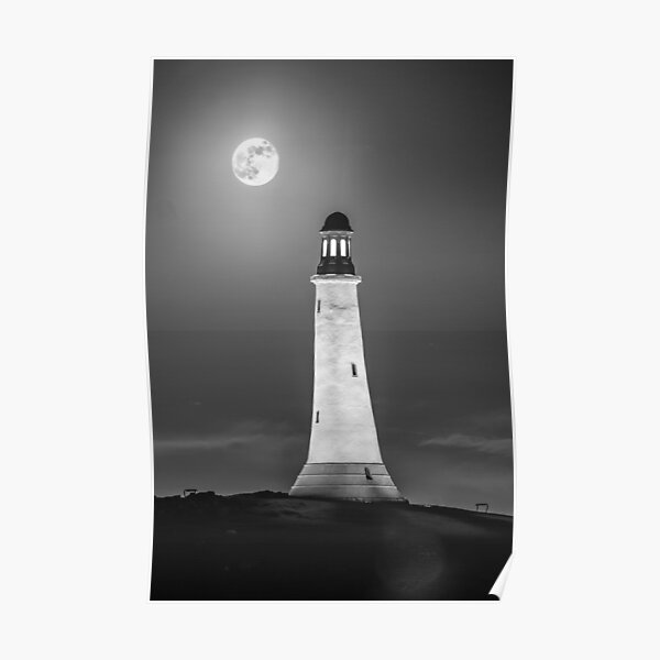 Hoad Monument Full Moon black and white Poster