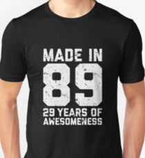 29th Birthday Gift Adult Age 29 Year Old Men Women Unisex T Shirt
