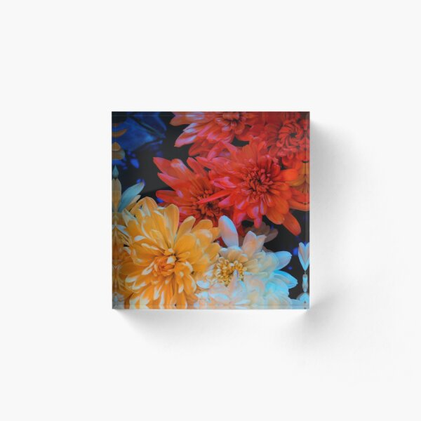 Rainbow flowers Acrylic Block