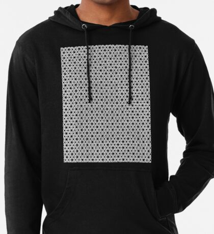 Hexagonal Weave Pattern Black & White 001 Lightweight Hoodie