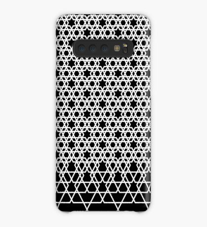 Hexagonal Weave Pattern Black & White 001 Case/Skin for Samsung Galaxy