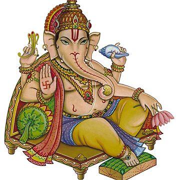 Ganesh Hindu God I Lord Ganesha I God Elephant Wall Art Stickers Prints by tanabe