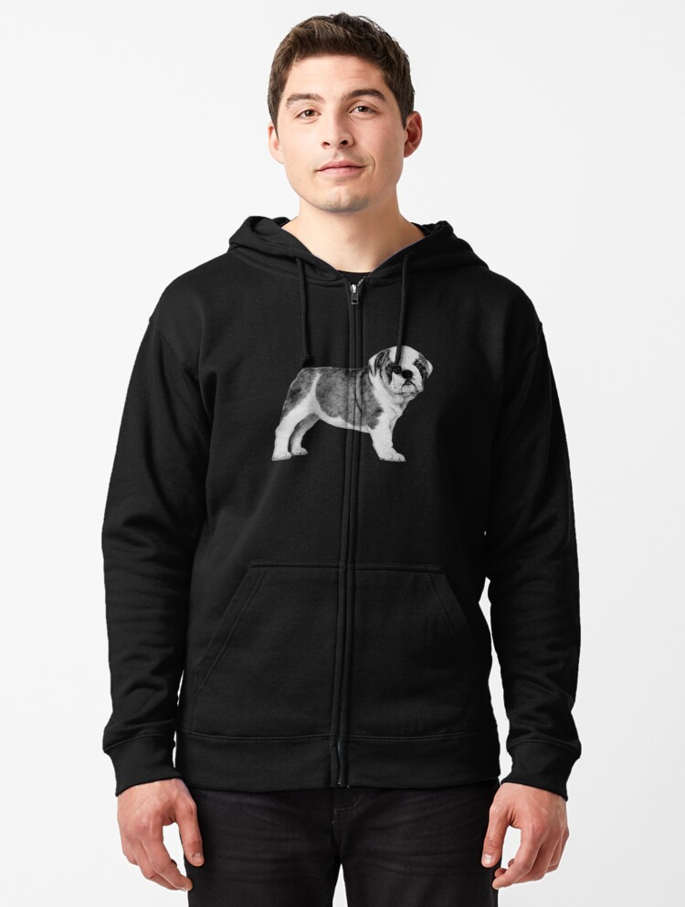 English Bulldog Puppy Mens Front Pouch Pocket Pullover Hoodie Sweatshirt Long Sleeves Pullover Tops
