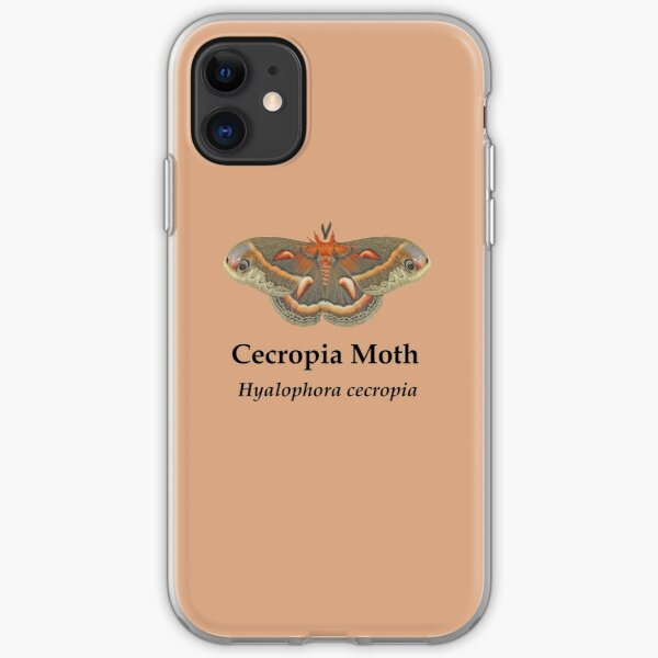 Cecropia Moth - Black Lettering iPhone Soft Case