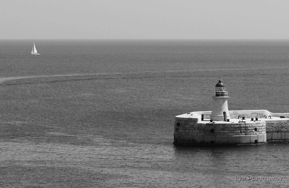 Away. Sailboat and Lighthouse off Malta Coast BW. by Igor Pozdnyakov