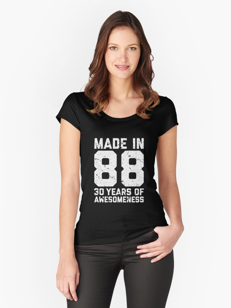 30th Birthday Gift Adult Age 30 Year Old Men Women Womens Fitted Scoop T Shirt By Mattlok