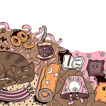 Home Sweet Home Doodle Illustration by Chesnochok