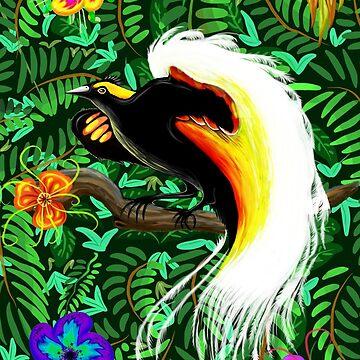 Paradise Bird Fire Feathers  by BluedarkArt