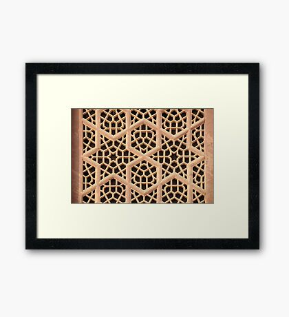 Old Islamic Stone Grill  Framed Print