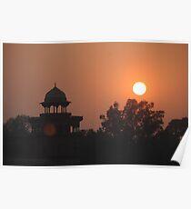Sunset at Taj Mahal Poster
