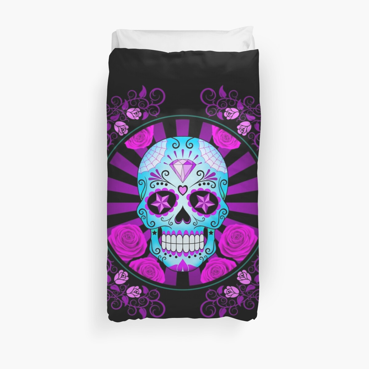 Quot Blue And Purple Sugar Skull With Roses Quot Duvet Covers By