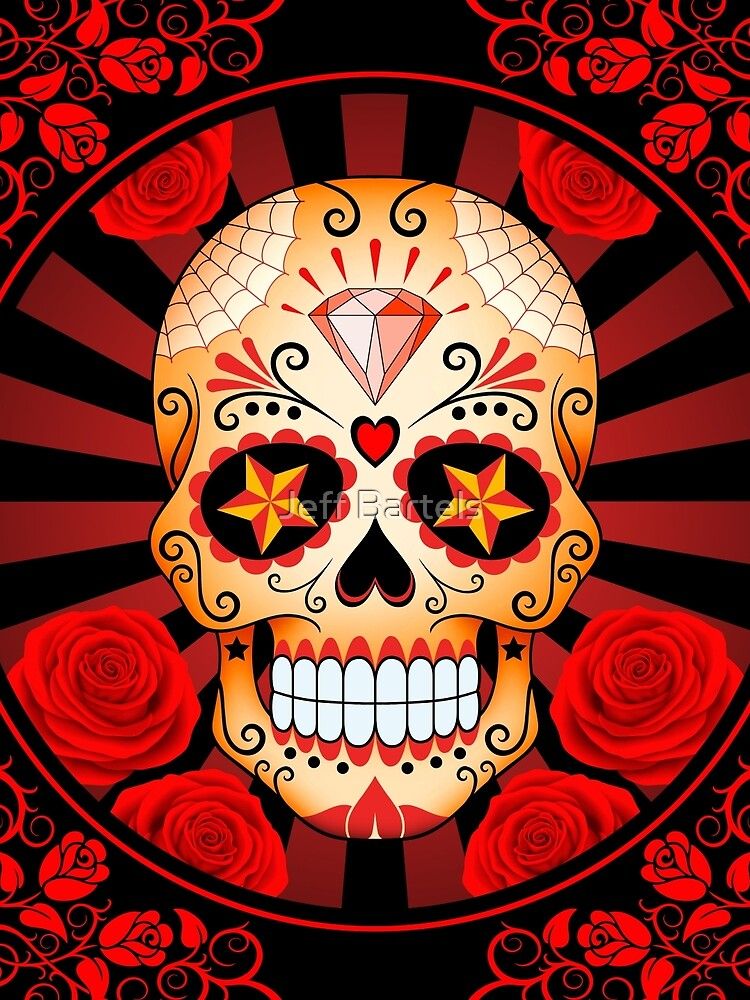Red Sugar Skull with Roses by JeffBartels