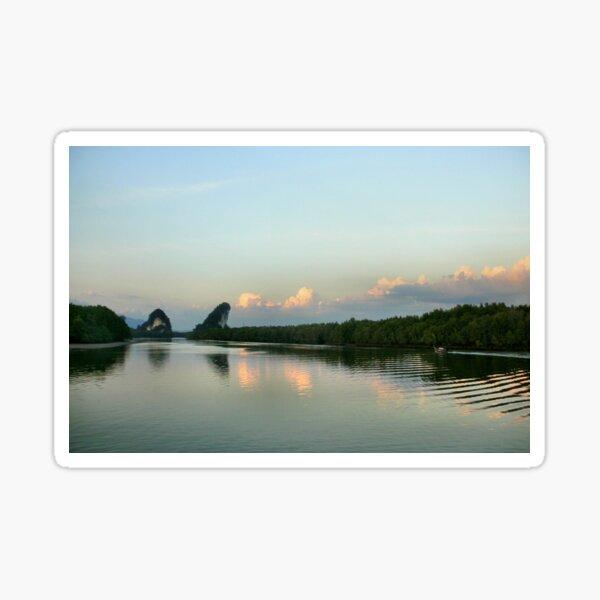 Dusk on the Krabi river Sticker