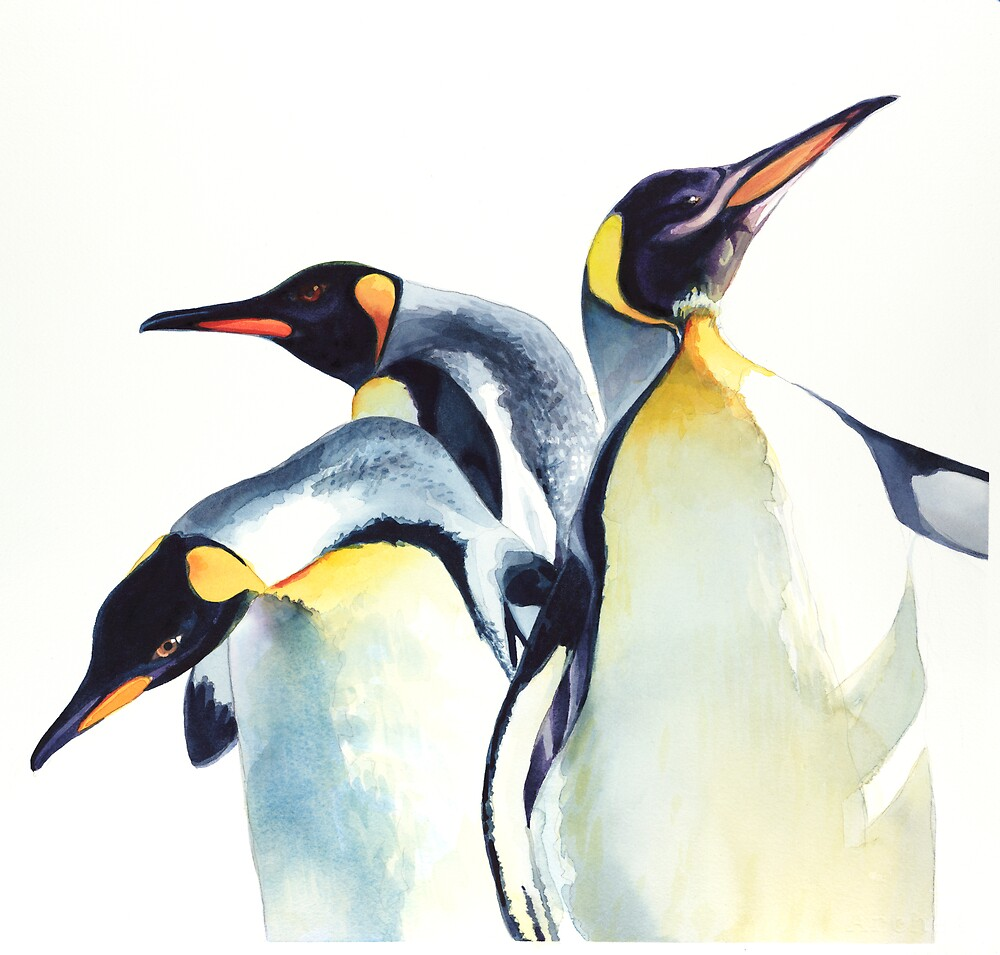"""Penguin Trio"" Wildlife Watercolor by Paul Jackson"
