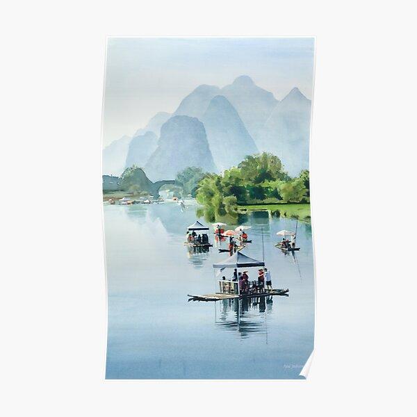 """""""Bamboo Rafting to Shangri La"""" Watercolor Poster"""