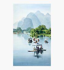 """Bamboo Rafting to Shangri La"" Watercolor Photographic Print"