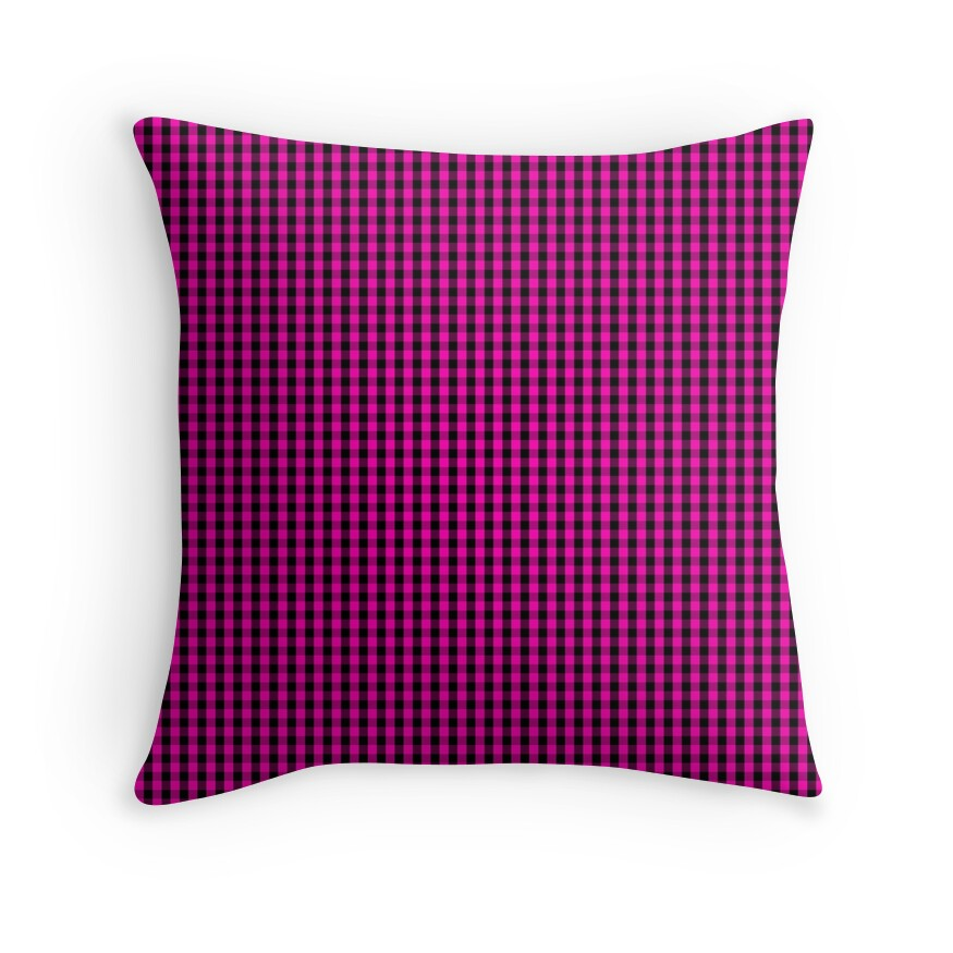 Small Hot Neon Pink and Black Gingham Check